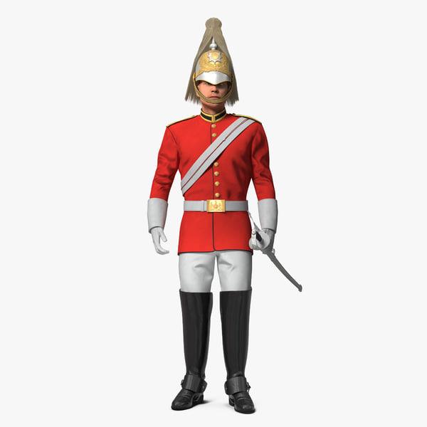 british royal soldier standing 3D model