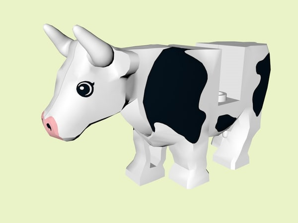 3D lego farm cow model