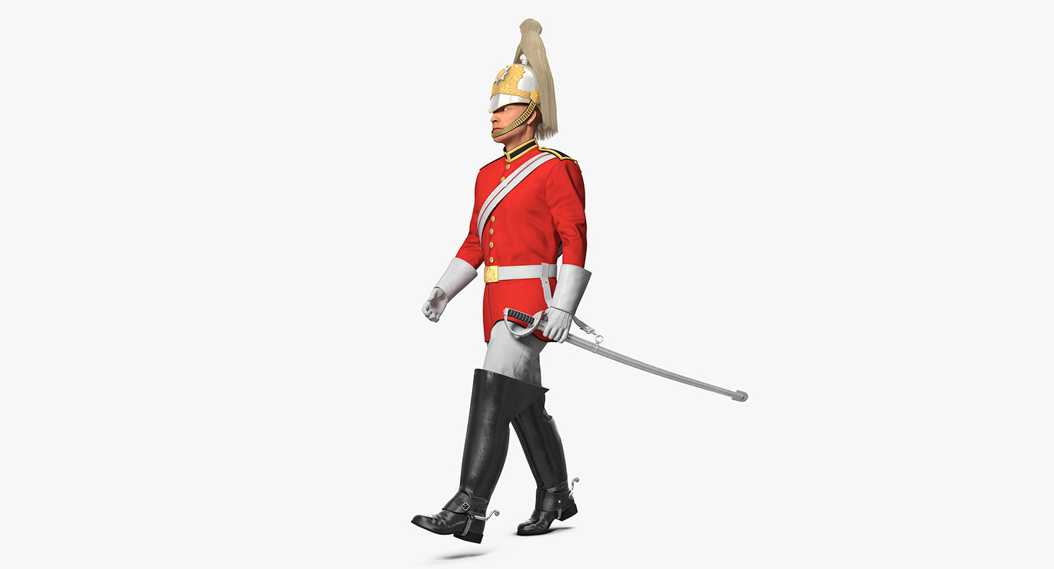 british royal lifeguard walking 3D model