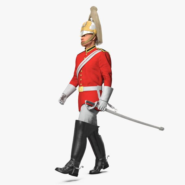 british royal lifeguard walking 3D model