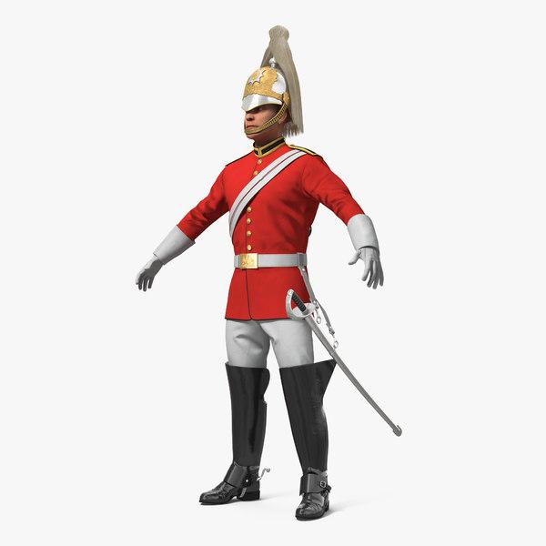 3D british royal lifeguard cavalry model