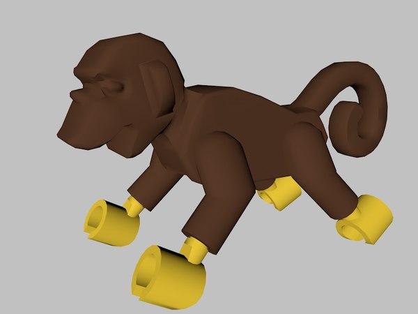 3D lego monkey character
