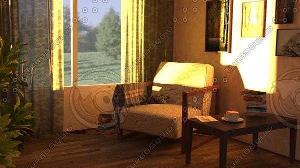 3D armchair plaid pillow model