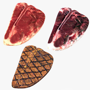 realistic t-bone steak 3D model
