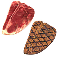 realistic raw grilled t-bone model