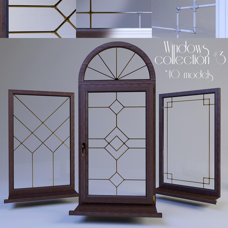 windows muntin bars 3D