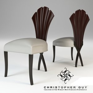 3D leather metal chair model
