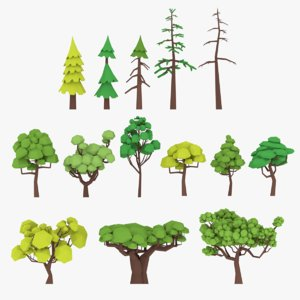 3D gameready trees pack model