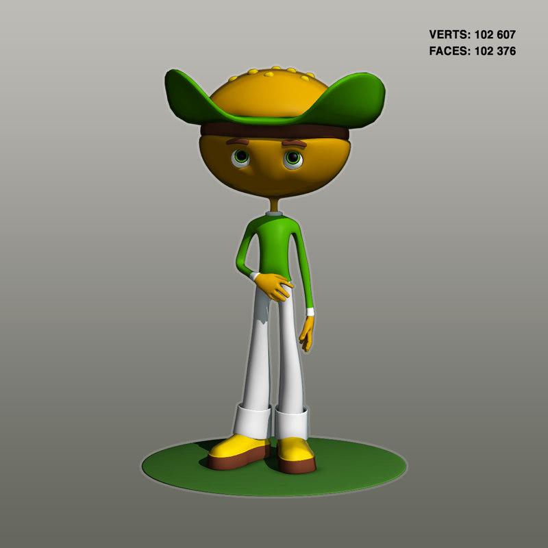 3D model burger character