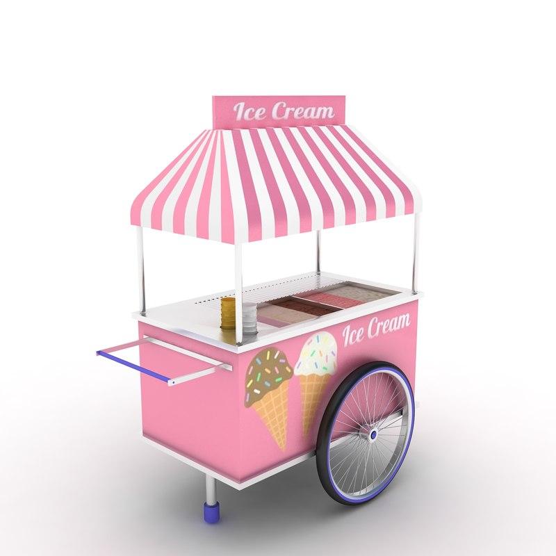 ice cream cart 3D model