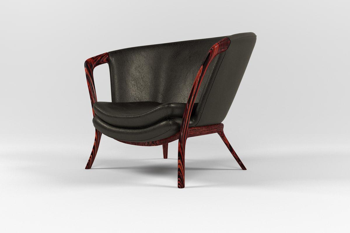 3D model armchair chair leather