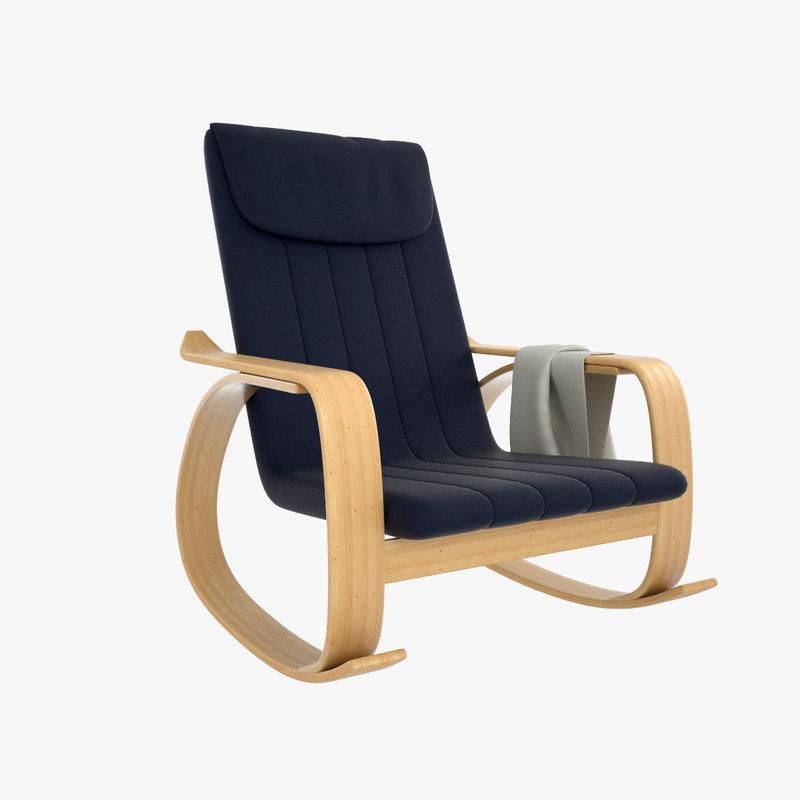 rocking wooden chair 3D model