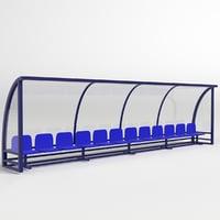 soccer reserve bench 3D