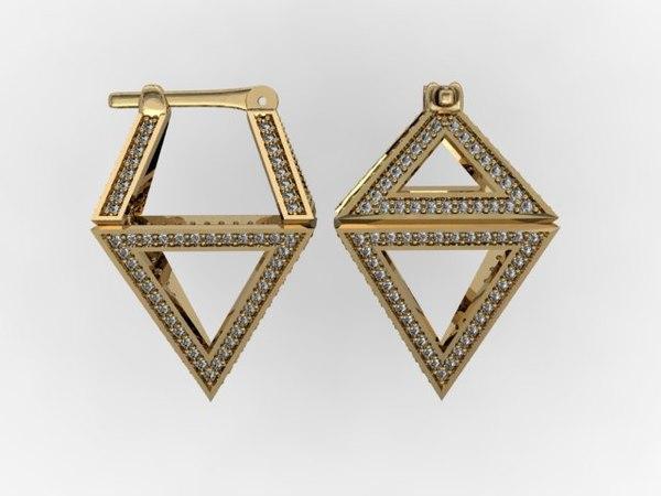 3D pyramids earrings