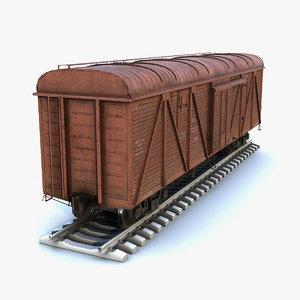 low-poly cargo car boxcar 3D model