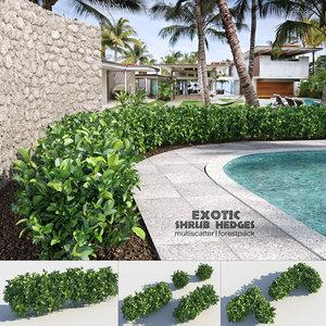 3D exotic shrubs hedges