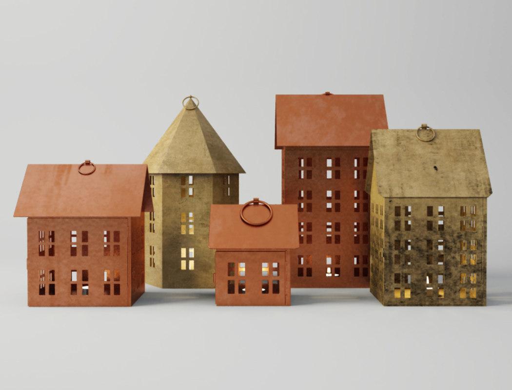 3D nordic house lanterns