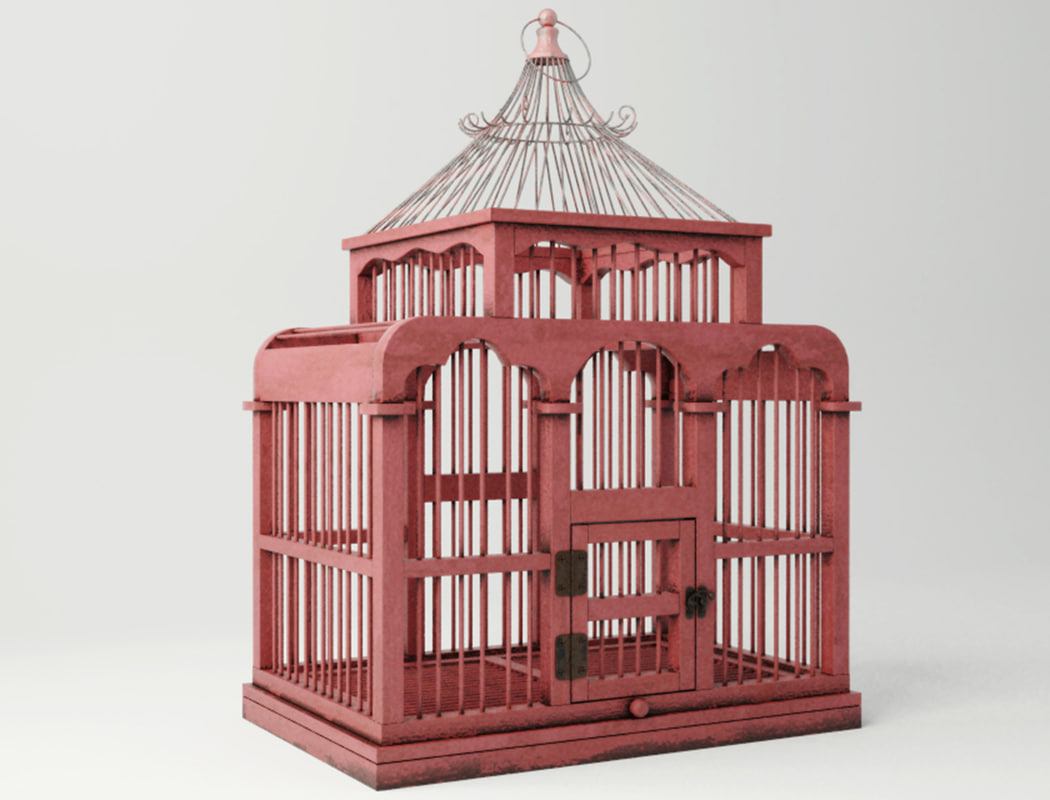 red decorative cage zara 3D model