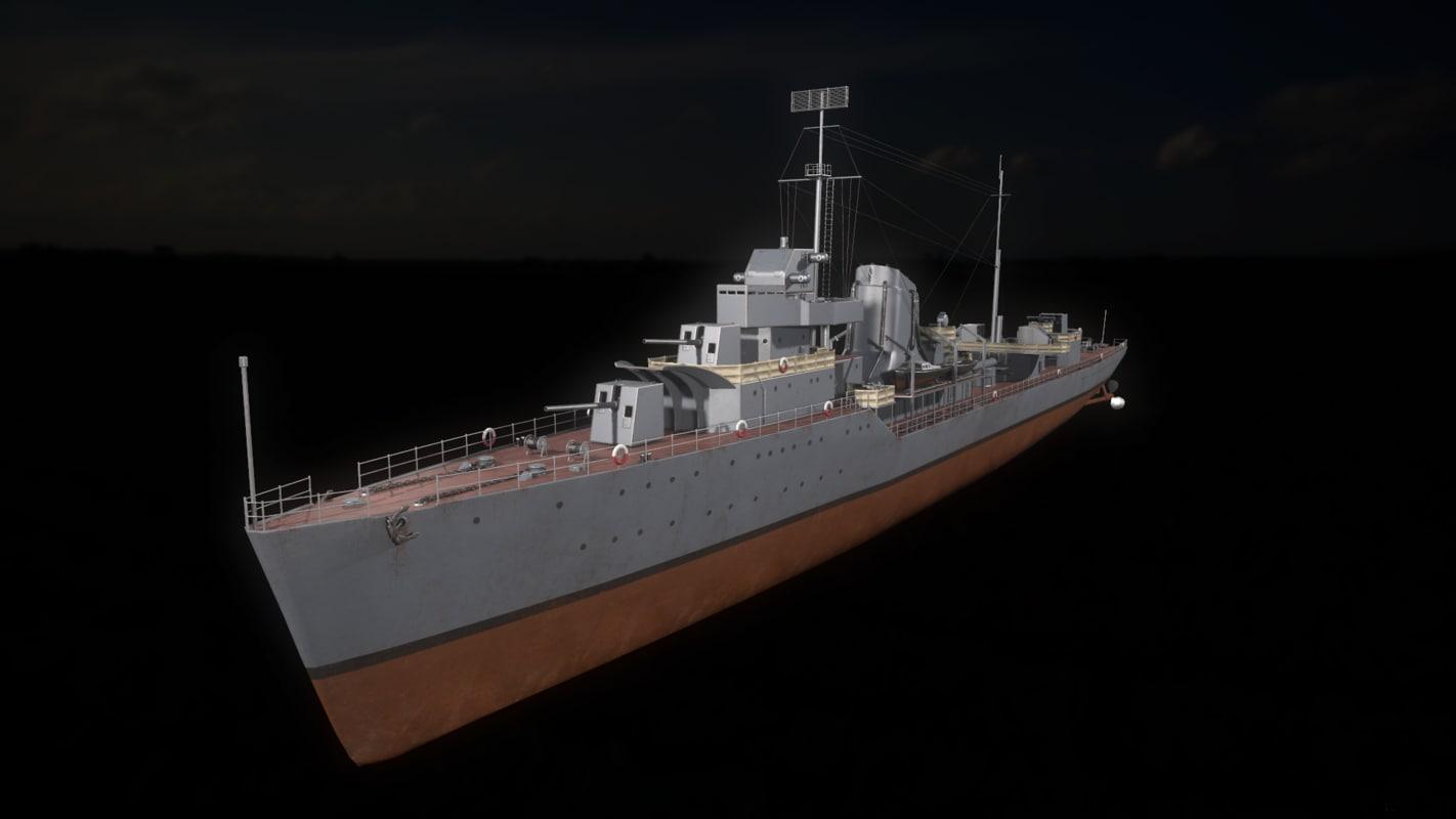 gnevny-class destroyer 3D model
