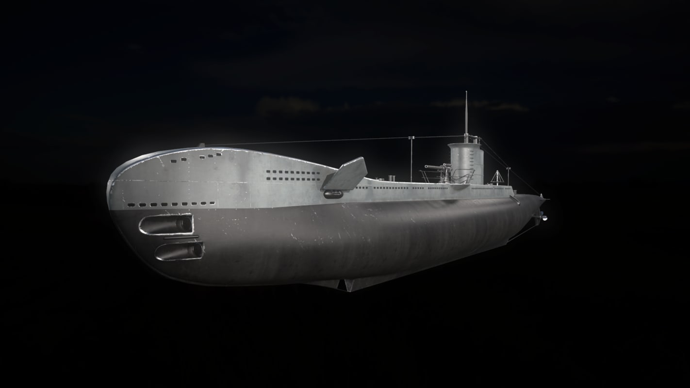 3D u-type submarine model