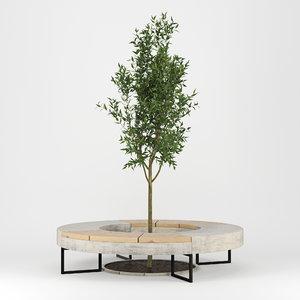 3D tree flowerbed model