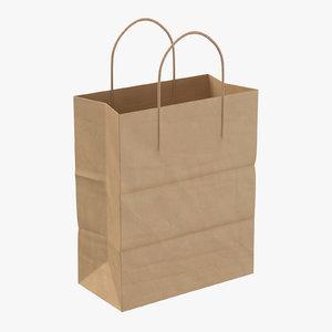 3D paper shopping bag handle model