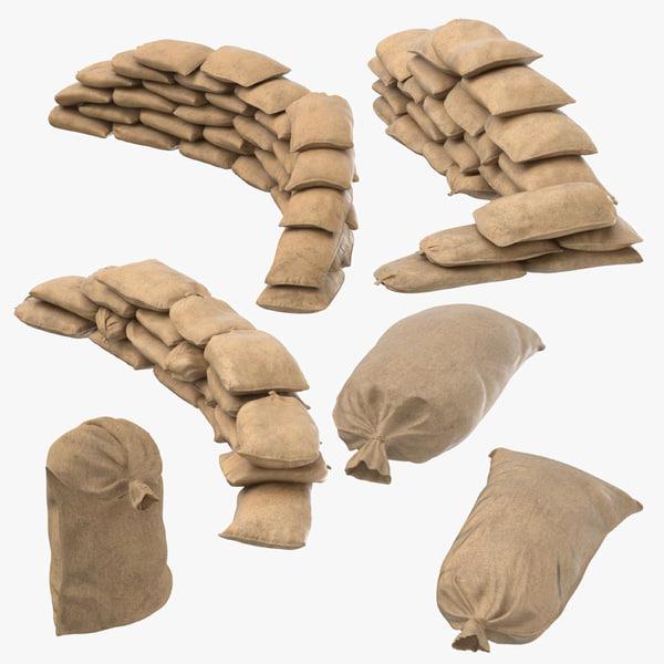 war ii sandbag barricades 3D model