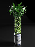 3D spiral tower bamboo arrangement model