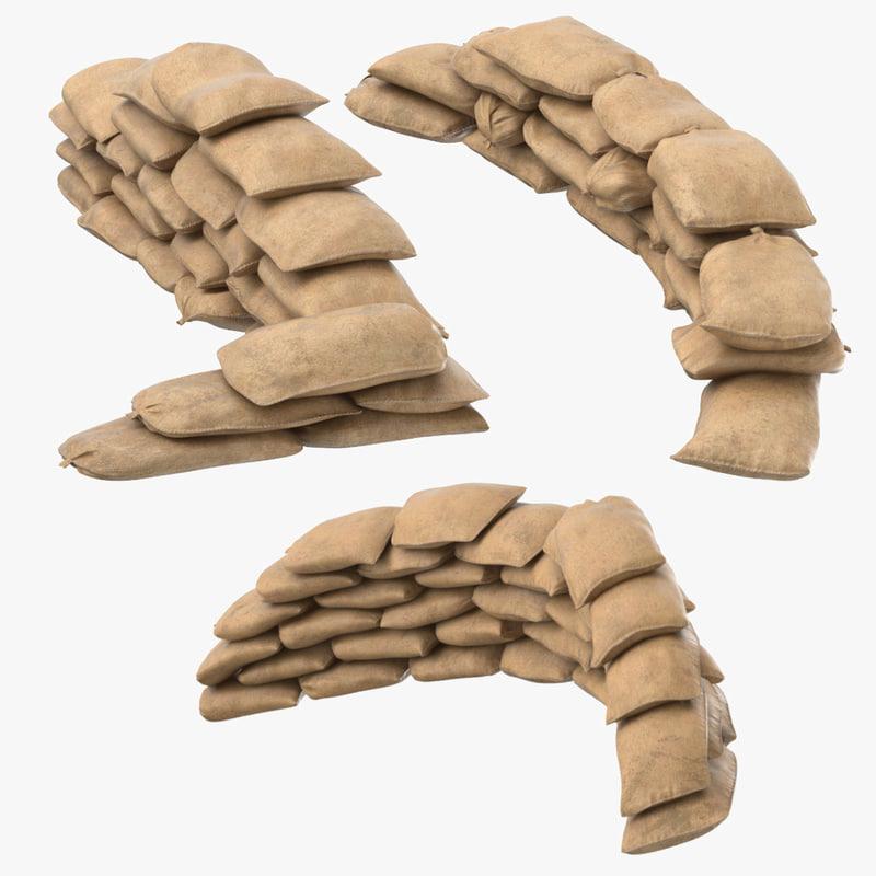3D war ii sandbag barricades