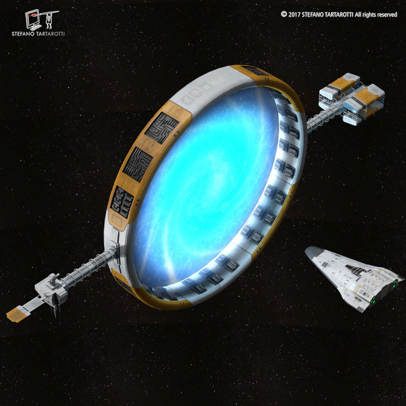 3D sci-fi stargate shuttle model