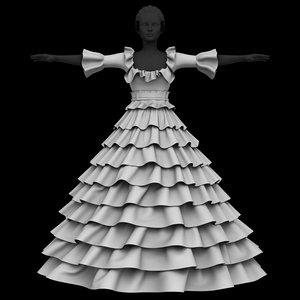 princess dress 3D model