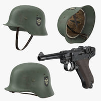 German Wermacht Helmet and Pistol