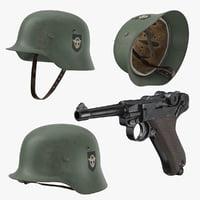 German Wermacht Helmet and Pistol