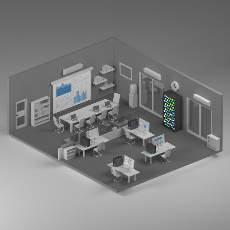 isometric office 3D
