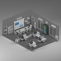 office low poly scene