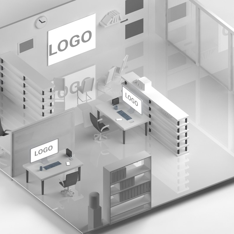 isometric office 3D model