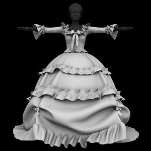 3D model princess dress