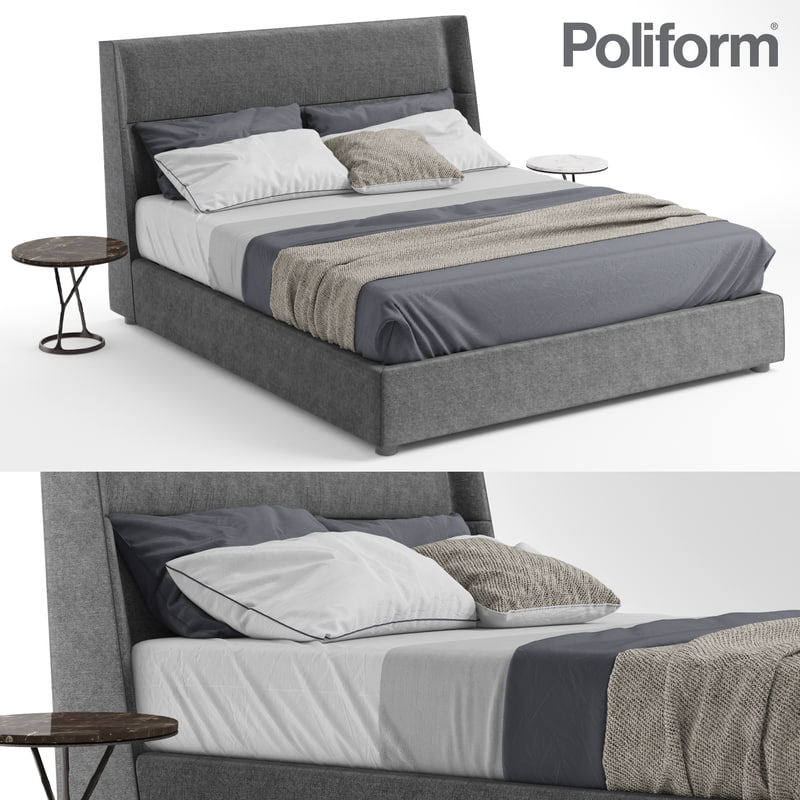 poliform chloe bed tables 3D model