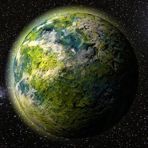 green alien planet model