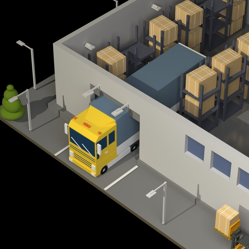 warehouse lorry forklift 3D model