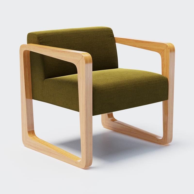 designed timber frame armchair 3D model
