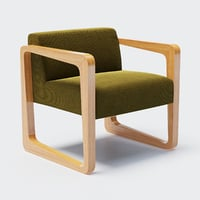 designed timber frame armchair 3D model
