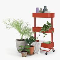 3D model trolley red