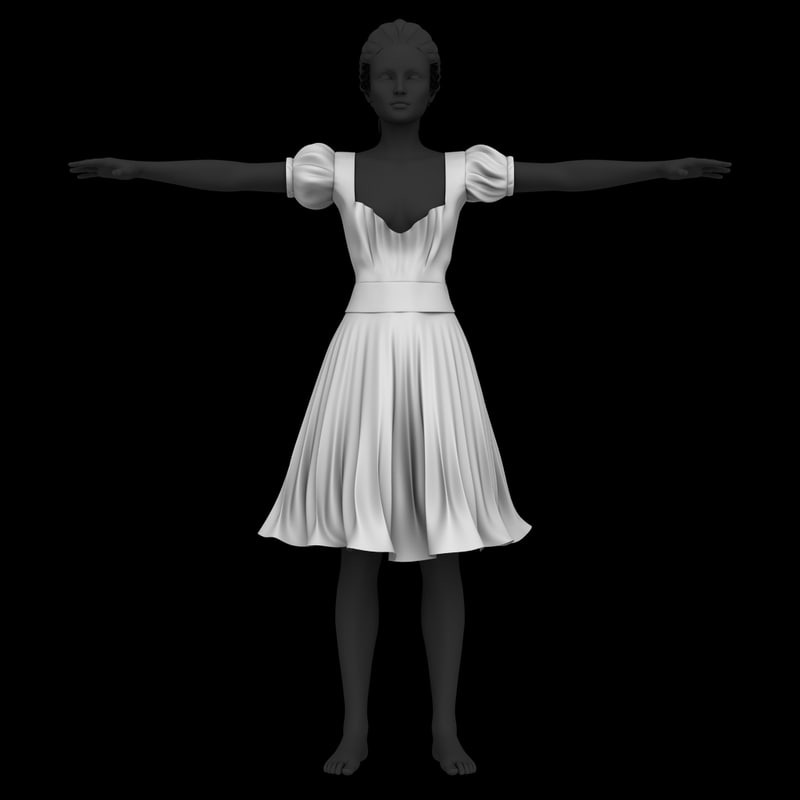 girly dress 3D model