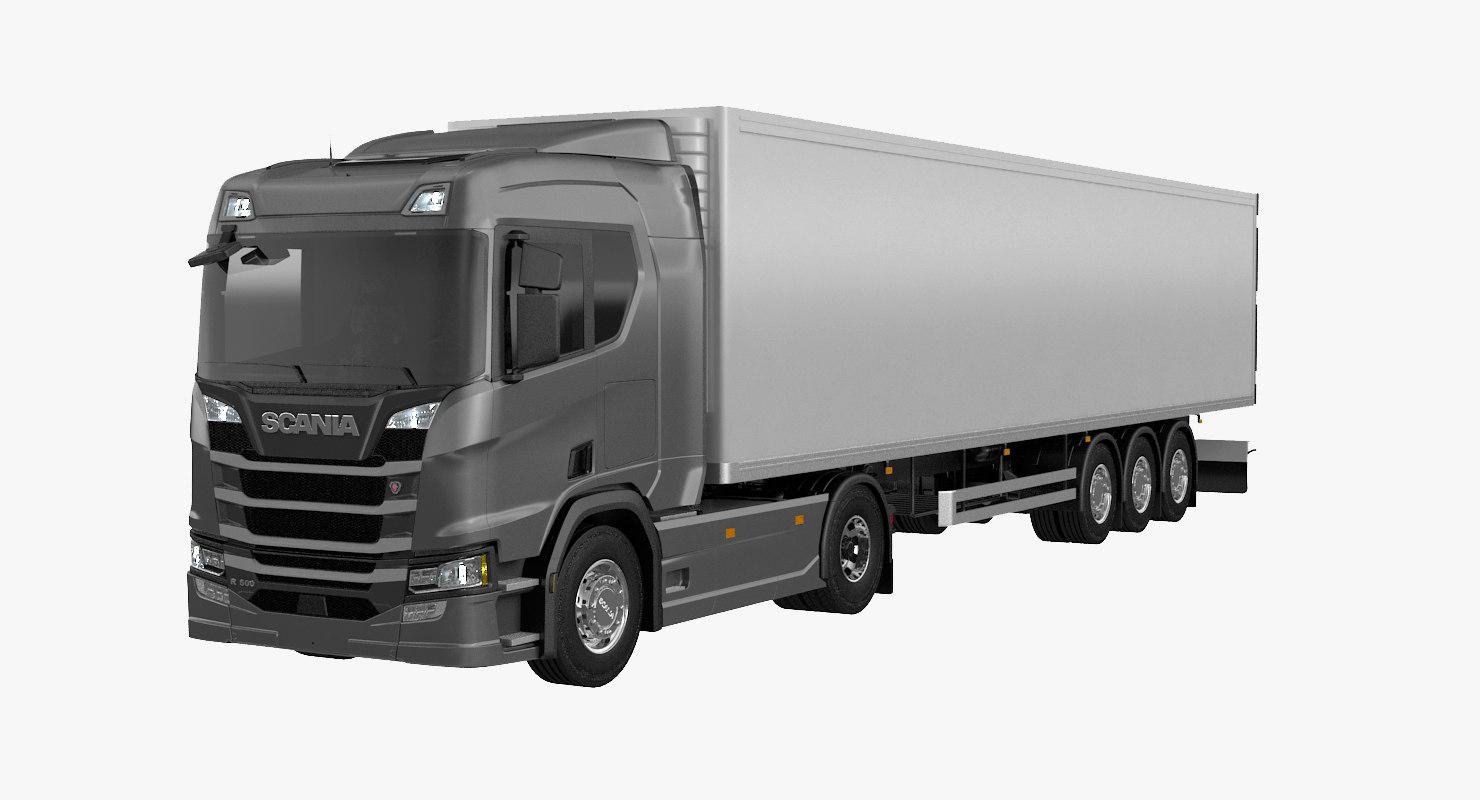 scania r500 box trailer 3D