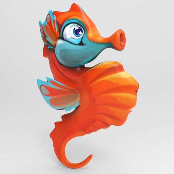 seahorse cartoon sea 3D model