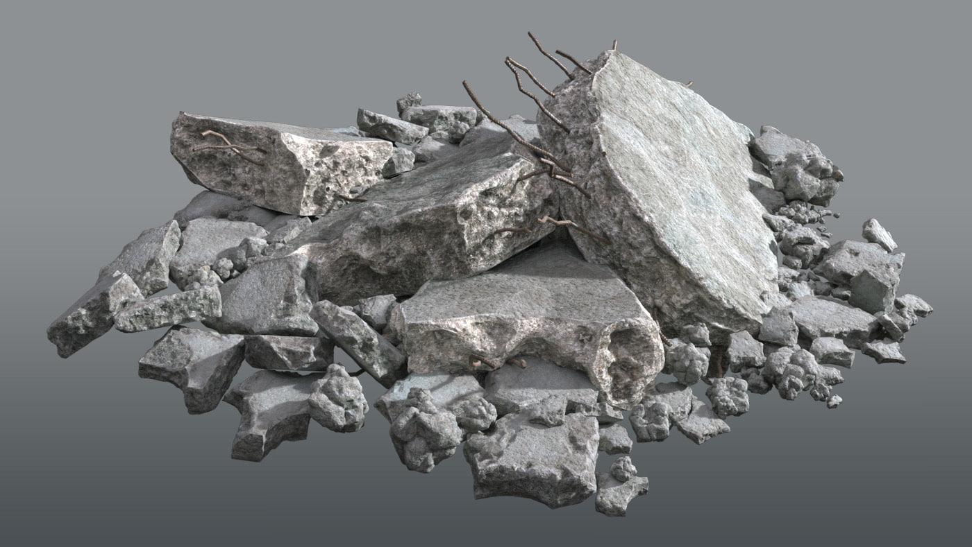3D model concrete rubble debris