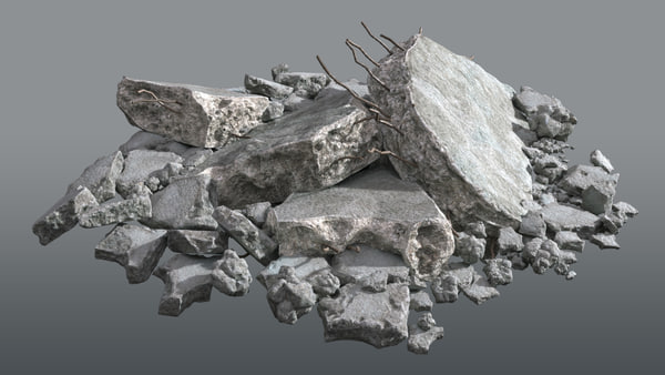 3D model concrete rubble debris