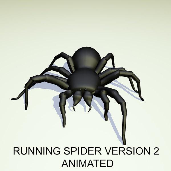 3D running black spider version model