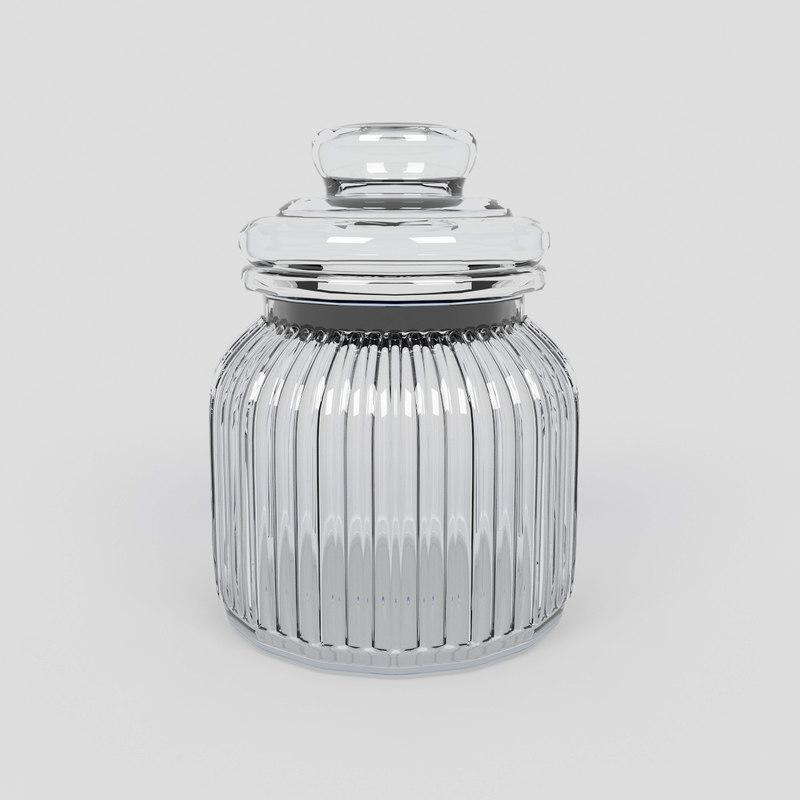 3D model glass jar sweets